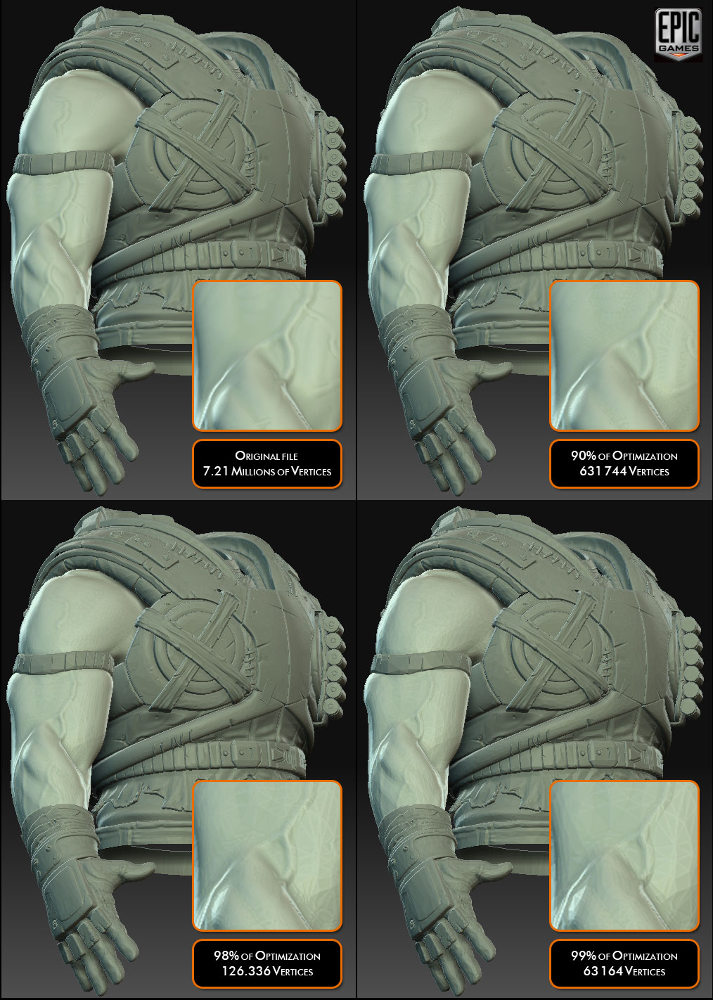 Compare Decimation Daster - Model Courtesy of Epic Games