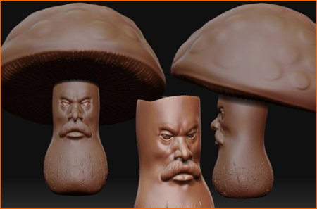 Скульптинг грибного человека в ZBrush
